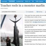 Professora fisga marlim azul de 149,9 kg com vara e anzol na Nova Zelândia